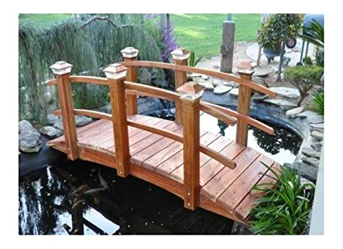 8 ft. Curved Span Bridge w Double Rail (Sealed Curved Double Rail) by Redwood Garden Bridges