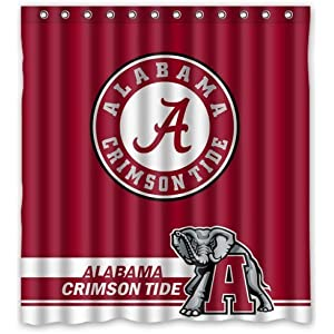 Cool Life Style NCAA Alabama Crimson Tide Polyester Bathroom Waterproof Shower Curtain