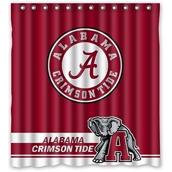 Cool Life Style NCAA Alabama Crimson Tide Polyester Bathroom Waterproof  Shower Curtain 66(W)