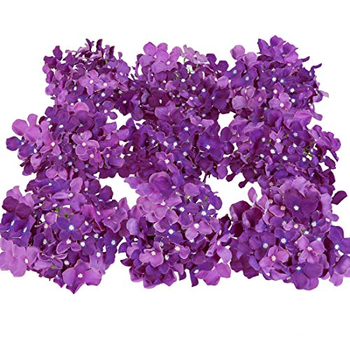 Luyue Silk Hydrangea Heads Artificial Decoration Flowers Garden Floral Decor,Pack of 10 (Dark Purple)]()