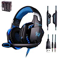 G2000 Gaming Headset Over-ear Professional Headphone Headset Bass Earphones 23.5mm LED Light Cool Style Stereo with Mic Noise Cancelling and Volume Control