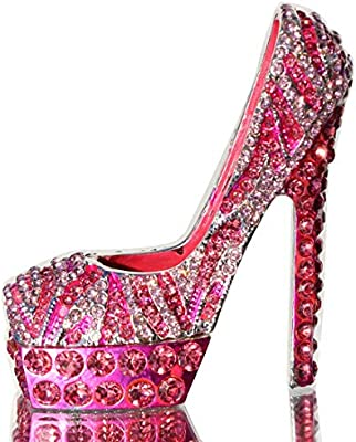 6e9a7f9bb2b0 Amazon.com: Waltz&F Pink Diamond Leopard high Heels Trinket Box Hinged  Hand-Painted Figurine Collectible Ring Holder with Gift Box: Home & Kitchen