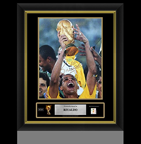 (Rivaldo Official FIFA World Cup Autographed Signed and Framed Brazil 12x18 Photo Autographed Signed In Gold: 2002 FIFA World Cup Winner - Certified Authentic Soccer Signature)