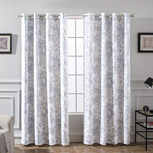 DriftAway Flower/Floral Pencil Sketch Blackout/Room Darkening Grommet Lined Thermal Insulated Energy Saving Window Curtains, 2 Layer, Set of Two Panels, Each 52