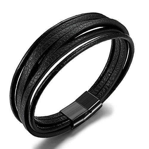 7e55e40f1b23 A Mano Hombres B 5cm 19 Magnético Hecha 5cm Cuero Besteel 20 5 Para Cierre  21 Con Acero Abrigo Pulsera Trenzado black ...