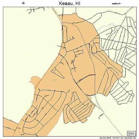 Amazon Com Large Street Road Map Of Keaau Hawaii Hi Printed