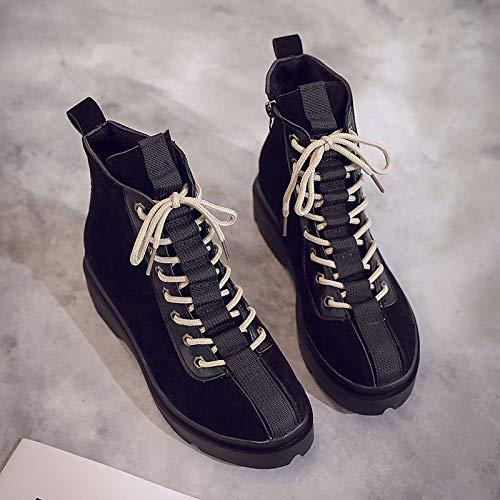 Black 6.5-7 US Black 6.5-7 US Women's Combat Boots Suede Winter Casual Boots Low Heel Mid-Calf Boots Black Brown