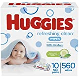 HUGGIES Refreshing Clean Scented Baby Wipes, Hypoallergenic, 10 Flip-top Packs, 56 Ct Each  (560...