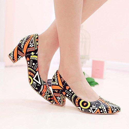 Carolbar Women's Fashion Charm Printings Block Mid Heel Pointed Toe Court Shoes Orange bAPUN