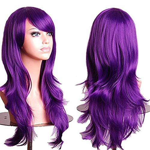 TopWigy Purple Cosplay Wigs Long Hair Wig with Bangs for Womens Wavy Synthetic Hair Side Part Anime Wig Big Curly Cosplay Costume Party Colored Wig (Purple 28
