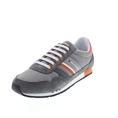 Grigio Tommy Hilfiger Sneaker Runner Con Dettagli In Pelle