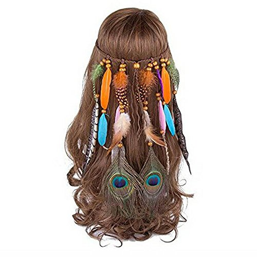 Indian Girl Costume Diy (MIGUOR Bohemian Europe and the United States Gypsy Indian feather hair ornaments head with feather hair band (coulor04))