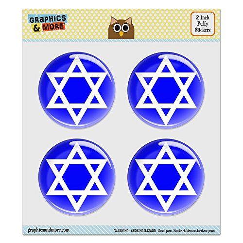 Stars Dazzle Stickers (Puffy Bubble Dome Scrapbooking Crafting Stickers - Star of David Shield Jewish - Set of 4 - 2.0