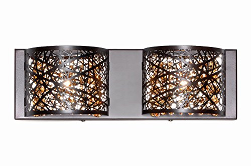 ET2 E21315-10BZ Inca 2-Light Wall Mount Bath Vanity, Bronze Finish, Cognac Glass, G9 Xenon Bulb, 70W Max., Dry Safety Rated, 2900K Color Temp., Low-Voltage Electronic Dimmer, Vinyl Shade Material, 750 ()