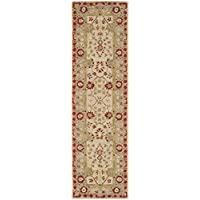 Safavieh Anatolia Collection AN589A Handmade Traditional Oriental Ivory and Light Green Wool Runner (23 x 8)