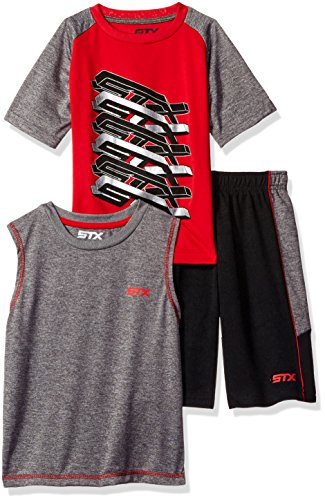 STX Boys 3 Piece Tank, Tee, and Muscle Short Set, Sj_Engine Red -