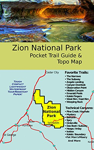 Zion National Park Pocket Trail Guide & Topo Map (12x18