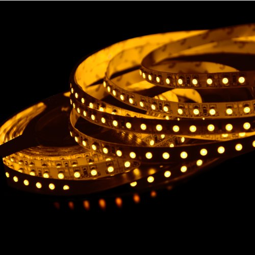ABI Double Density Orange Yellow Flexible LED Light Strip with AC Adapter, 120 LED / Meter LED Chips, 5 Meters / 16.4 FT Spool, 12VDC Chips String