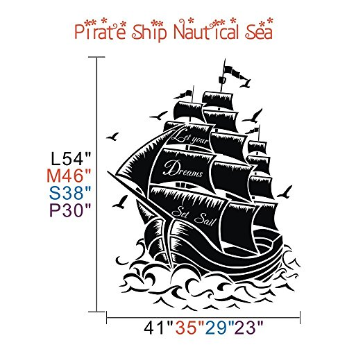 Vinyl-Pirate-Ship-Wall-Sticker-Sail-Boat-Wall-Decal-Nautical-Wall-Graphic-Wall-Mural-Vinyl-Home-Art-Decor