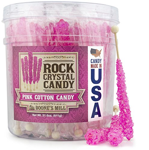 Boone's Mill | Rock Crystal Candy Sticks | Pink Cotton Candy | 36 -
