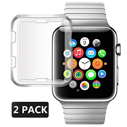 Hjukr Compatible with Apple Watch Screen Protector Case 38mm, Soft Transparent TPU All-Around Cover Protective Compatible with iWatch Case Series 3&2 (2 Pack)
