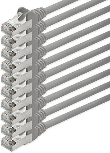 [Gesponsert]1aTTack CAT5 FTP Foliengeschirmt Netzwerkkabel mit 2X RJ45 Stecker Set (10 Stück) 10m grau