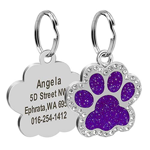 Didog Glitter Rhinestone Paw Print Custom Pet ID Tags,Crystal Stainless Steel Personalized Engrave ID Tags Fit Small Medium Large Dogs and Cats,Purple