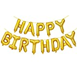 Happy Birthday Balloons Banner, Gold Alphabet Letter Foil Balloons Air-filled Mylar Balloon for Birthday Party Wedding Anniversary Decoration and Supplies