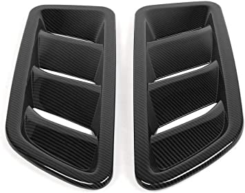 Fit For Jeep Wrangler JL 2018 2019 Carbon Fiber Hood Trim Decor Cover 2pcs //set