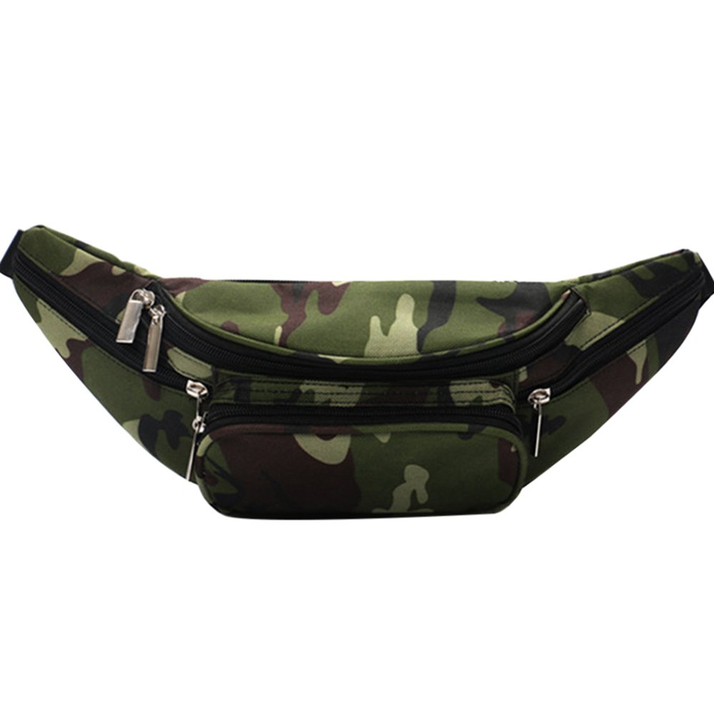 Sfit Femme Sac de Ceinture Portefeuille pour Sport Portable Camouflage Multi-poches en Tissu Oxford 33 * 10 * 13cm Lam045637BC