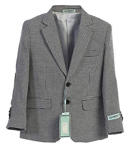 - Gioberti Boys and Kids Lightweight Spring Houndstooth Blazer Jacket, Black, Size 6