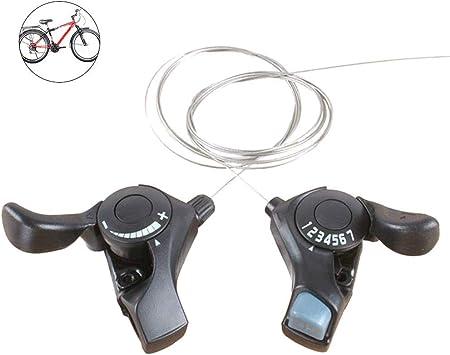 1 Par 21 Velocidad Bicicleta de Monta/ña Dividido Regulador Trigger Palanca de Cambios Pulgar Mando de Cambios Palancas con Interior Cables 3x7 Velocidad por Shimano Tourney SL-TX30 MTB