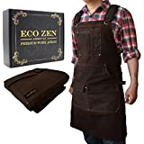 Shop Apron - Waxed Canvas Work Apron with Pockets | Waterproof, Fully Adjustable to Comfortably Fit Men and Women Size S to XXL | Tough Tool Apron to Give Protection and Last a Lifetime