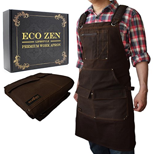 Shop Apron - Waxed Canvas Work Apron with Pockets | Waterproof, Fully Adjustable to Comfortably Fit Men and Women Size S to XXL | Tough Tool Apron to Give Protection ()