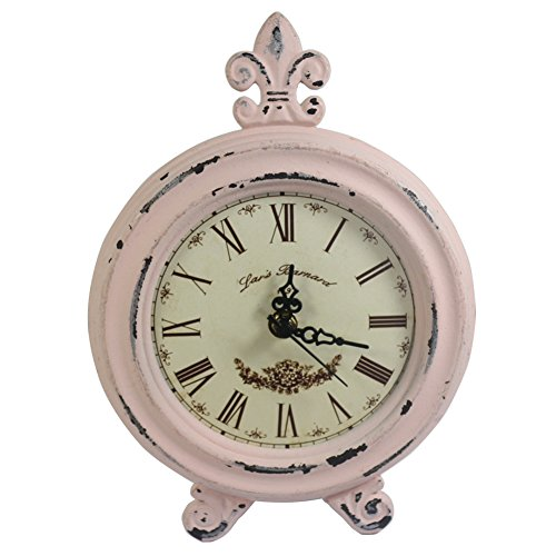 Retro Vintage Table Clock,Decorative Table Clock,Silent No Ticking Antique Table  Desk Clock,Light Pink (Light Pink)