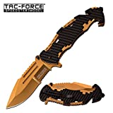 TAC Force TF-932BG Spring Assist Folding Knife, Gold Half-Serrated Blade, Black Handle, 4.75-Inch Closed