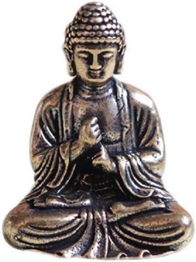 DMtse Brass Mini Antique Sakyamuni Buddha Statue Ornaments Meditation Seated Pose Journey Worship Attractive & Serene Small Pocket Buddha Statue Figurine