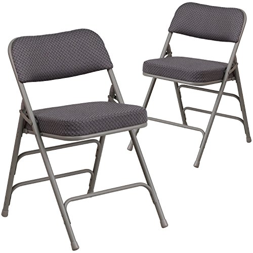 Flash Furniture 2 Pk. HERCULES Series Premium Curved Triple Braced & Quad Hinged Gray Fabric Metal Folding Chair Triple Fabric