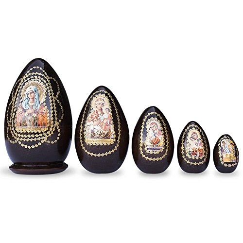 BestPysanky Set of 5 Virgin Mary Icons Wooden Nesting Dolls 6.5 Inches