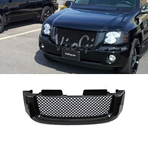 VIOJI 1pc Glossy Black Strong ABS Plastic Badgeless Mesh Style Front Main Upper Grille Fit 02-09 GMC Envoy/XL/XUV All Models