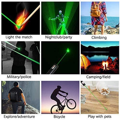 JCKSY Green Light Torch Demonstration Projector High Power Pen Visible Beam with Adjustable Focus Handheld Flashlight for Camping Biking Hiking Outdoor