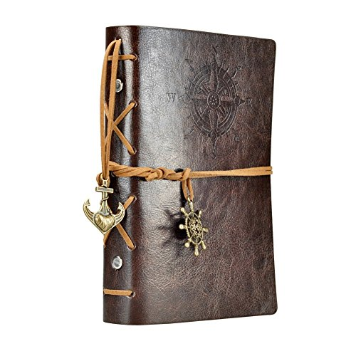 Vintage Leather Cover Journal Diary String Nautical (Black) - 3