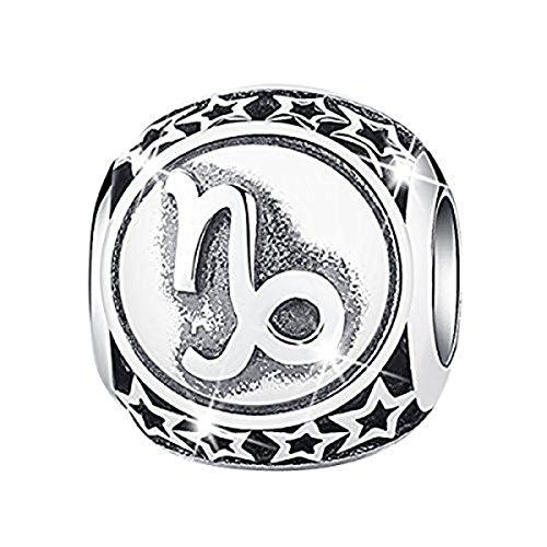 BAMOER Sign of Zodiac Capricorn 925 Sterling Silver Charms Bead for - Sterling Zodiac Bead Silver