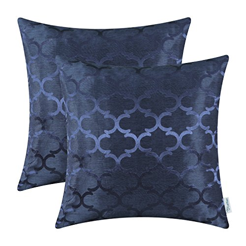 CaliTime Pack of 2 Cushion Covers Throw Pillow Cases Shells for Home Sofa Couch Modern Shining & Dull Contrast Quatrefoil Accent Geometric 16 X 16 Inches Navy Blue