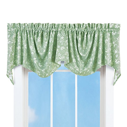 Collections Etc Floral Scroll Draped Window Curtain Valance, Sage