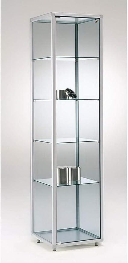 MHN Vitrina de pie de cristal alto con cerradura, con pies ...