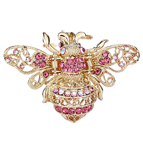 EVER FAITH Gold-Tone Austrian Crystal Honey Bee Insect Hair Claw Clip Pink
