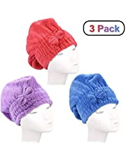 3Pcs Wet Hair Dry Cap Drying Towel,Dee Banna Hair Drying Towels Ultra Absorbent Microfiber Drying Cap (Red,Blue,Purple)