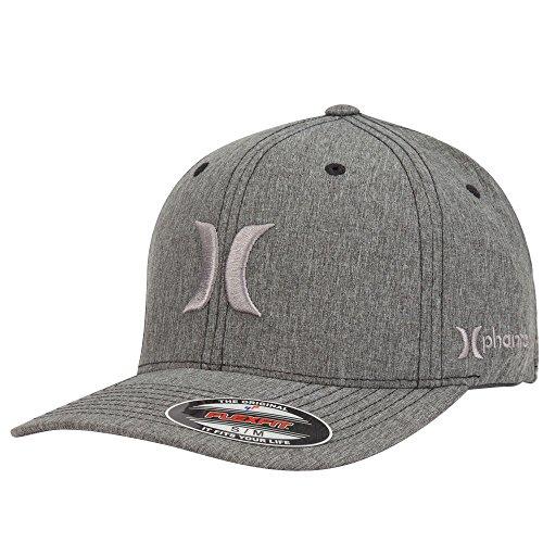 Hurley Men's Phantom Boardwalk Hats Flex Fit, Heather Black, Large/X-Large