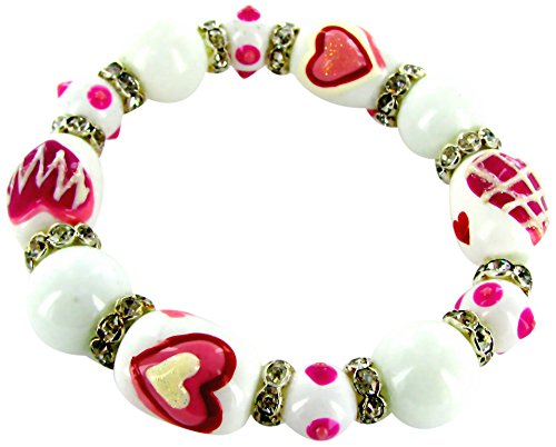 Linpeng Woman's Stretch Bracelet/Hand Painted Hearts Glass Beads with rhinestone spacer/White & Pink/Beads sizes approx. 13x18mm/Length 7.5